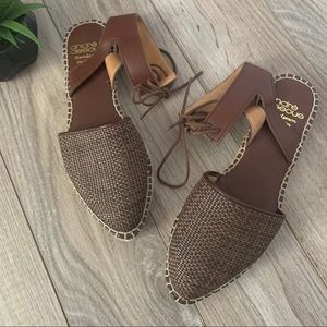Andre Assous Brown Woven Leather Tie Espadrilles